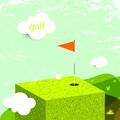 Golf green field abstract landscape hole with flag Stock Photo