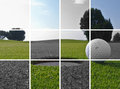 Golf hole and ball a a in a grid Stock Images