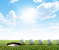 Golf Hole And Ball Putt Path Royalty Free Stock Photo
