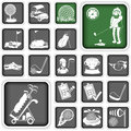 Golf icons collection of different squared Stock Images