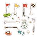 Golf icons hobby equipment cart player golfing sport symbol flag hole game elements vector illustration.