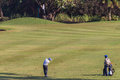 Golf junior striking ball club green Fotos de archivo