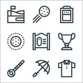 Golf line icons. linear set. quality vector line set such as polo shirt, umbrella, golf ball, trophy, golf course, ball, practice Royalty Free Stock Photo