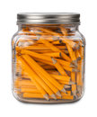 Golf pencils in a jar isolated on white with clipping mask Royalty Free Stock Photos