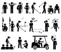 Golf player actions poses cliparts a set of stickman representing the sports of and Stock Photo