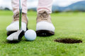 Golf player at the green putting hitting ball into a hole Royalty Free Stock Image