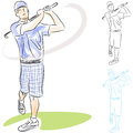 Golf Player Swings Royalty Free Stock Photo