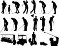 Golf players silhouettes Royalty Free Stock Photo