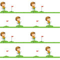 Golf playing boy illustration of a on a white background Stock Photography