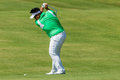 Golf professional kiradech aphibarnrat swinging to strike ball action at the european pga tournament volvo champions tournament Royalty Free Stock Photo