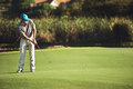Golf putt green man putting on and aiming to sink shot on course Stock Photography
