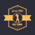 Golf school vintage logo, badge, tetragonal emblem, with girl golfer, female golf player swinging golf club
