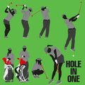 Golf silhouette collection the hole in one Royalty Free Stock Photos