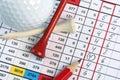Golf socrecard mit Piepmatz Stockbilder