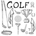 Golf Sport Hand drawn sketch set vector illustration with golf clubs, ball, tee, hole with flag, and prize cup, Drawing doodles el Royalty Free Stock Photo