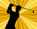 Golf swing indicates golf club exercise and golfing course representing recreation golfer Royalty Free Stock Images
