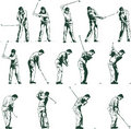 Golf swing stages vector illustration Royalty Free Stock Photo
