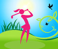 Golf swing woman shows women golfer and golfing meaning challenge club lady Stock Image