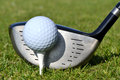 Golf tee box club and ball on golfing concept Stock Photography