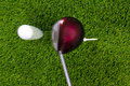 Golf tee shot with driver Royalty Free Stock Image
