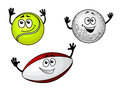 Golf tennis and football balls for sports or team mascot design Stock Image