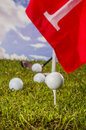 Golf theme on green grass and sky background summer sports colorful concept with Stock Images