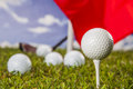 Golf theme on green grass and sky background summer sports colorful concept with Stock Image