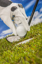 Golf theme summer sports colorful concept with grass Royalty Free Stock Photos