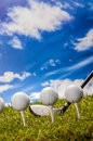 Golf theme with vivid colors summer sports colorful concept grass Stock Image
