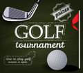Golf tournament poster template with ball and club Stock Image