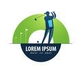 Golf vector logo design template. sports or game