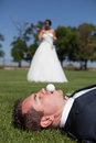 Golf and wedding bride groom playing Royalty Free Stock Photo