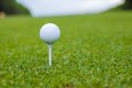 Golfball on a tee against the golf course ball Royalty Free Stock Photos