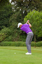 Golfer backswing at the top of his Stock Image