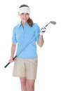 Golfer with a golf club attractive female in clothing isolated on white Stock Photography