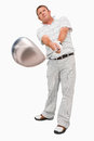 Golfer with his club Royalty Free Stock Photo