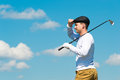 the golfer looks into the distance Royalty Free Stock Photo