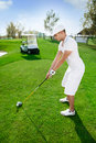 Golfer is preparing to hit golf ball Royalty Free Stock Photo