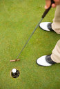 Golfer putting golf ball in the hole Royalty Free Stock Photo