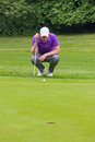 Golfer reading the green holding his putter getting to putt as he looks towards hole Royalty Free Stock Image