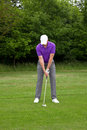 Golfer stance for a mid iron shot male addressing the ball from the edge of the fairway Stock Photos