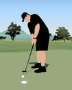 Golfer swing his putter Royalty Free Stock Images