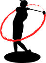 Golfer swing silhouette with fire Royalty Free Stock Images