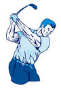 Golfer swinging club blue Royalty Free Stock Photo