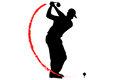 Golfer T-Off with fire Royalty Free Stock Photo