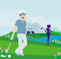 Golfers on a sunny day illustration Stock Images