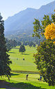 Golfers tee at the base of cheyenne mountain play a luscious green broadmoor hotel Royalty Free Stock Photography