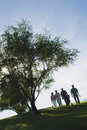 Golfers walking on golf course group of by tree the Stock Photo