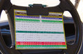 Golfing score card on golf cart steering wheel a colorful scorecard clipped to the of a Royalty Free Stock Photo