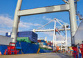 Goliath crane loading of goods Stock Images